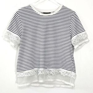 Topshop Size 6 Small Womens B&W Striped Crop Top